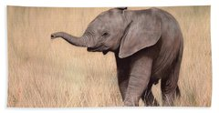 Elephant Calf Painting Bath Towel