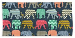 Baby Elephants And Flamingos Hand Towel