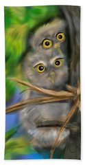 Hand Towel featuring the digital art Baby Owls by Christine Fournier