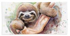Baby Sloth Watercolor Hand Towel