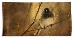 Backlit Birdie Being Buffeted  Bath Towel