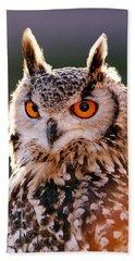 Backlit Eagle Owl Bath Towel