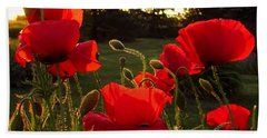 Backlit Red Poppies Bath Towel by Mary Wolf