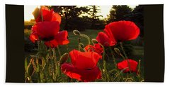 Backlit Red Poppies Bath Towel