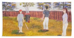 Hand Towel featuring the painting Backyard Cricket Under The Hot Australian Sun by Pamela  Meredith
