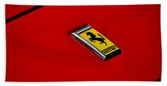 Badge In Red Bath Towel by Dean Ferreira