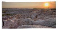 Badlands Overlook Sunset Bath Towel