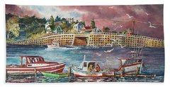 Bailey Island Cribstone Bridge Hand Towel by Joy Nichols