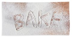 Hand Towel featuring the photograph Bake Text by Tom Gowanlock