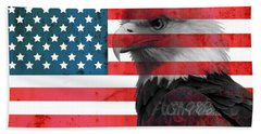Bald Eagle American Flag Bath Towel by Dan Sproul