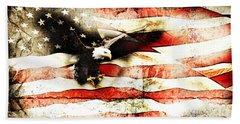 Bald Eagle Bursting Thru Flag Hand Towel
