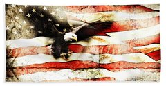 Bald Eagle Bursting Thru Flag Bath Towel
