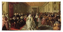 Ball At The Court Of Henri IIi On The Occasion Of The Marriage Of Anne, Duke Of Joyeuse Bath Towel