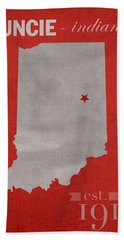 Ball State University Cardinals Muncie Indiana College Town State Map Poster Series No 017 Hand Towel