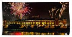 Ballpark Fireworks Bath Towel