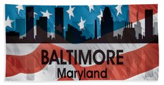 Baltimore Md American Flag Squared Hand Towel