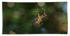 Banana Spider In Web Bath Towel