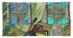 Bath Towel featuring the mixed media Banjo Room by Ally  White