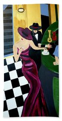 Bar Scene  Lets Have A Drink Bath Towel by Nora Shepley