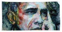 Barack Bath Towel by Laur Iduc