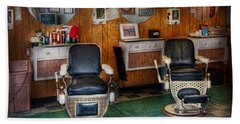 Barber - Frenchtown Nj - Two Old Barber Chairs  Bath Towel