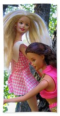 Bath Towel featuring the photograph Barbie's Climbing Trees by Nina Silver