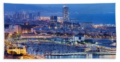 Barcelona Cityscape By Night Hand Towel