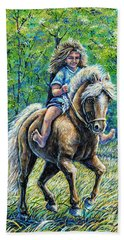 Barefoot Rider Bath Towel by Gail Butler