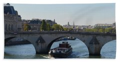 Barge On River Seine Bath Towel by Cheryl Miller