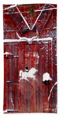 Barn Door In Winter Hand Towel
