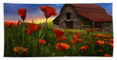 Barn In Poppies Bath Towel by Debra and Dave Vanderlaan