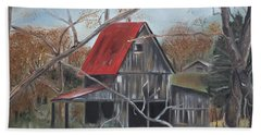 Hand Towel featuring the painting Barn - Red Roof - Autumn by Jan Dappen