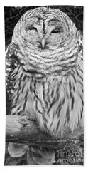 Barred Owl In Black And White Bath Towel by John Telfer
