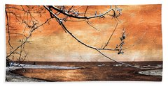 Bath Towel featuring the photograph Barrier Beach - Old Woman Creek - Sunset by Shawna Rowe