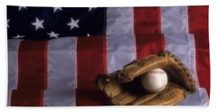 Baseball And American Flag Bath Towel
