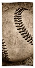 Baseball Old And Worn Hand Towel by Paul Ward