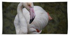 Bashful And Shy Flamingo. Bath Towel