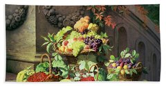 Baskets Of Summer Fruits Hand Towel by William Hammer