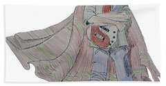 Bass Guitarist Cartoon Bath Towel