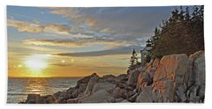 Hand Towel featuring the photograph Bass Harbor Lighthouse Sunset Landscape by Glenn Gordon
