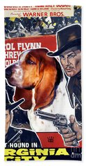 Basset Hound Art Canvas Print - Virginia City Movie Poster Bath Towel