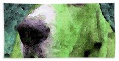 Basset Hound - Pop Art Green Bath Towel