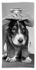 Bassett Hound Dog With Ice Pack On Head Bath Towel