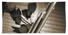 Bassoon Music Instrument Photograph In Sepia 3406.01 Hand Towel