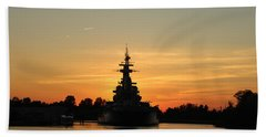 Hand Towel featuring the photograph Battleship At Sunset by Cynthia Guinn