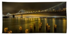 Bay Bridge And Clouds At Night Hand Towel