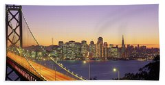 Bay Bridge At Night, San Francisco Bath Towel