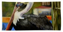 Hand Towel featuring the painting Bay St. Louis Pelican by Phyllis Beiser