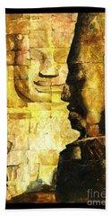 Bayon Khmer Temple At Angkor Wat Cambodia Hand Towel