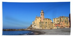 Hand Towel featuring the photograph beach and church in Camogli by Antonio Scarpi